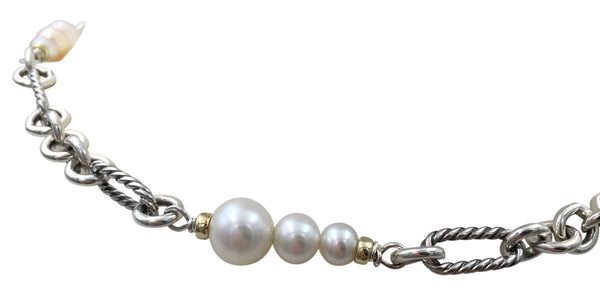 David Yurman Figaro Silver Gold and Pearl Necklace
