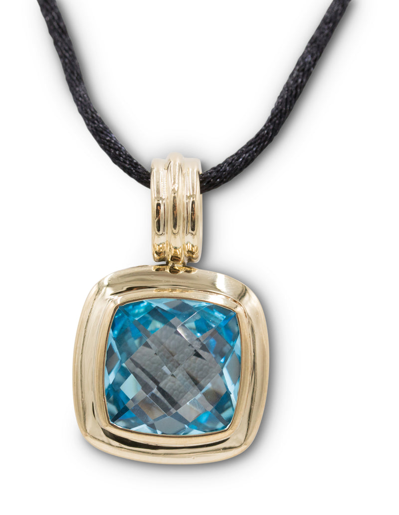 David Yurman Albion Gold and Silver Topaz Pendant