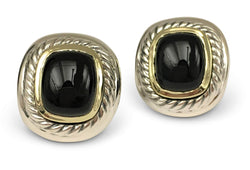 David Yurman Sterling Silver and 14 Karat Yellow Gold Onyx Earrings