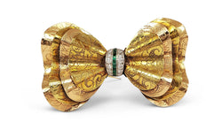 Art Deco Two-Tone Gold Diamond and Emerald Bow Brooch