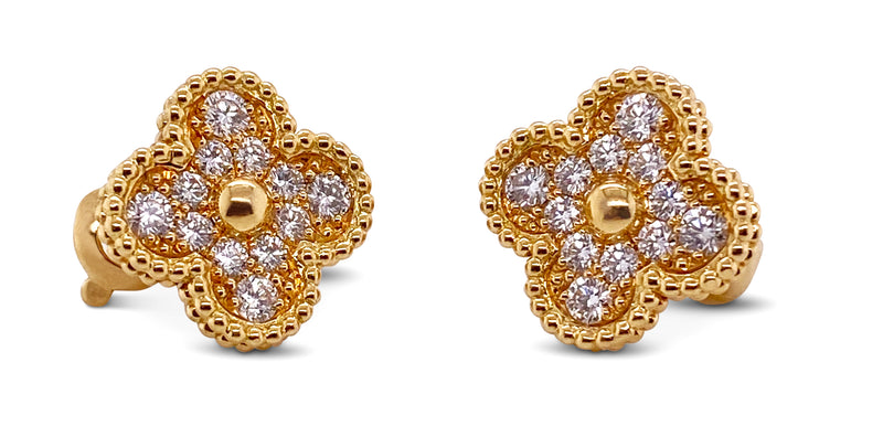 Van Cleef & Arpels Vintage Alhambra Yellow Gold and Diamond Earrings