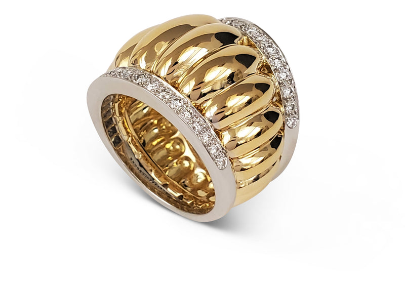 Belperron Godrons Gold Platinum and Diamond Ring