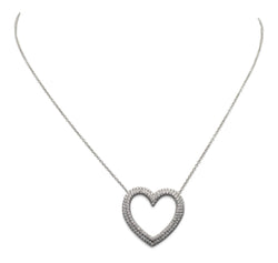 Tiffany & Co. Metro Platinum Diamond Heart Pendant Necklace