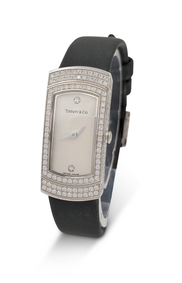 Tiffany & Co. 'Classique' White Gold Diamond Ladies Silk Strap Watch