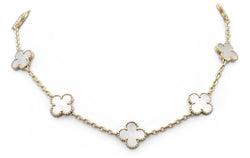 Van Cleef & Arpels Vintage Alhambra 10 Motif Mother-of-Pearl Necklace