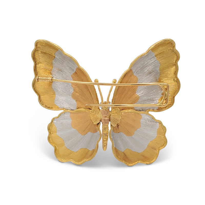 Buccellati Tri-Color Gold Butterfly Brooch