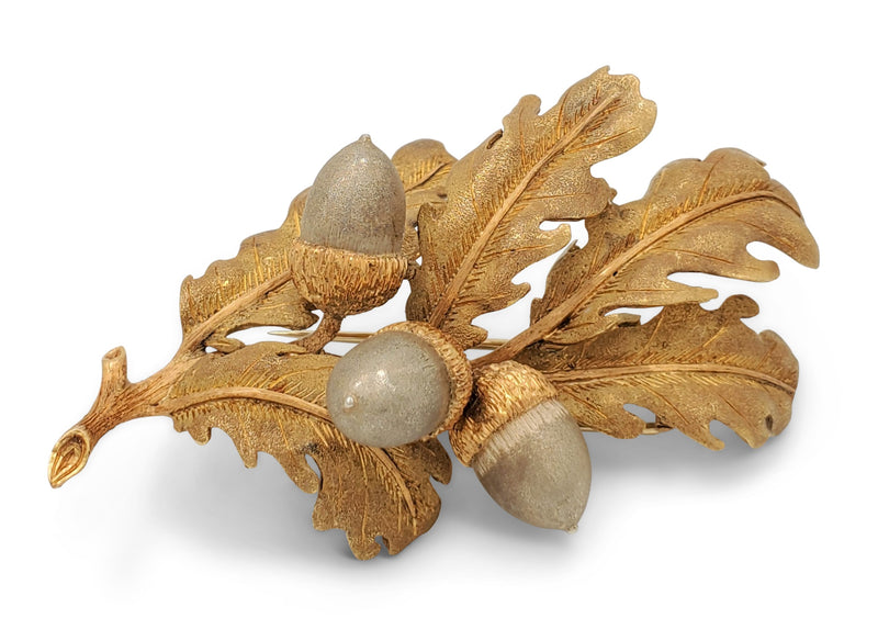 Brushed Gold Oak Leaf and Acorn Brooch