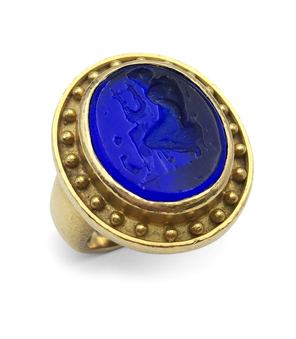 Elizabeth Locke Gold and Carved Venetian Glass Intaglio Ring
