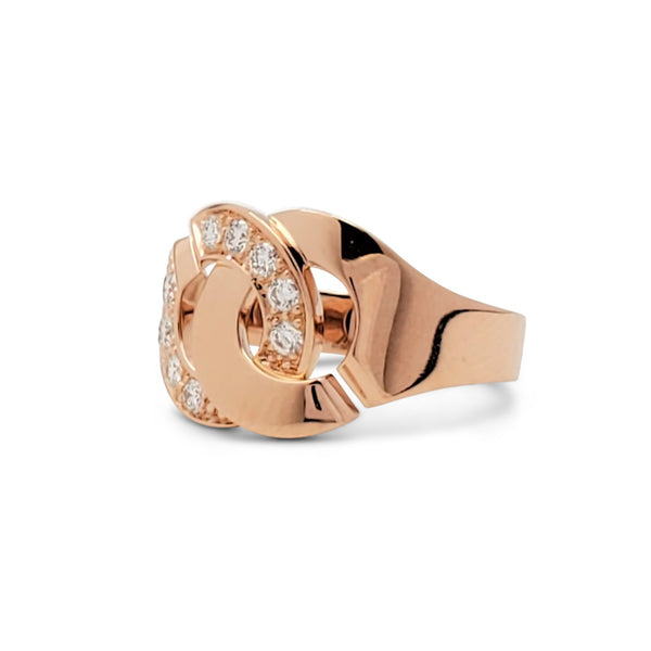 Dinh Van Paris Menottes Rose Gold and Half Diamond Ring