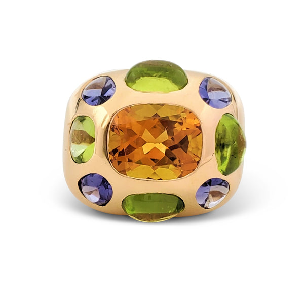 Chanel Coco Baroque Yellow Gold Multi-Gemstone Dome Ring