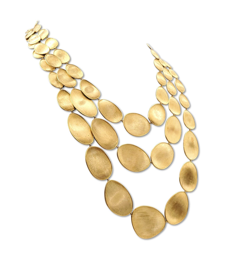 Marco Bicego Lunaria Yellow Gold Oval Leaf Three Strand Necklace
