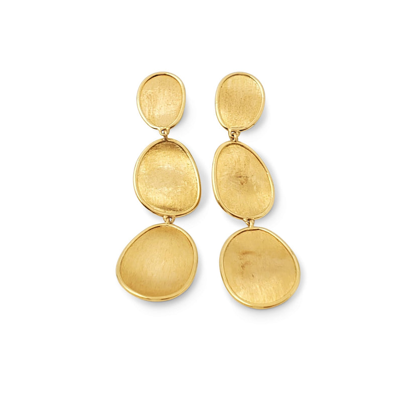Marco Bicego Lunaria Yellow Gold Oval Leaf Three Tier Drop Earrings