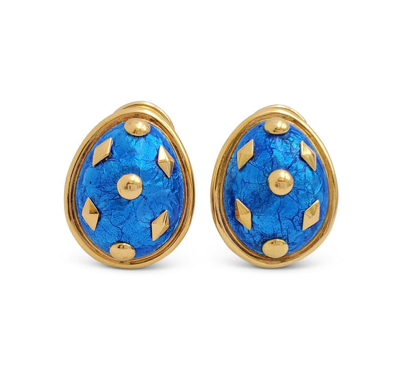 Jean Schlumberger for Tiffany & Co. Blue Enamel and Gold Clip-On Earrings
