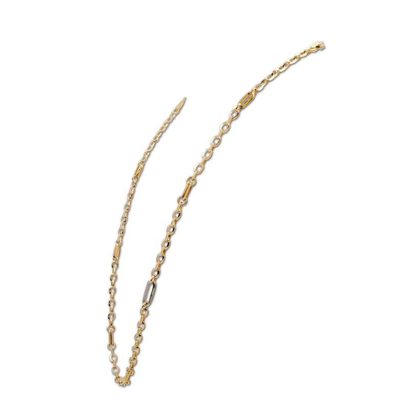 Roberto Coin Gold and Diamond Long Chain Link Necklace