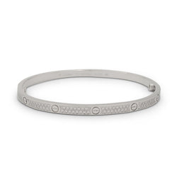 Cartier Love White Gold Pavé Diamond Bracelet, Small Model