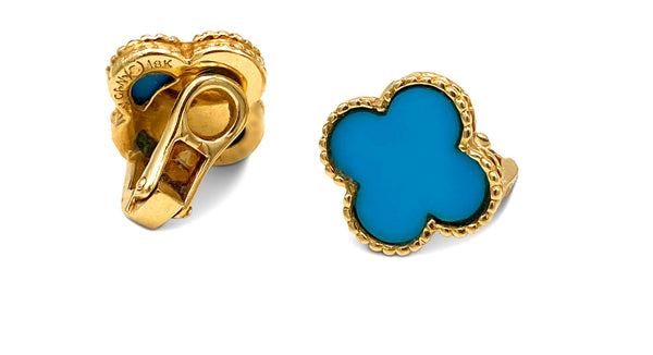 Vintage Van Cleef & Arpels Alhambra Turquoise Earrings