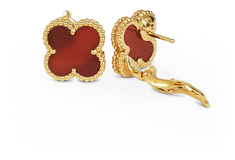 Van Cleef & Arpels Vintage Alhambra Carnelian Earrings
