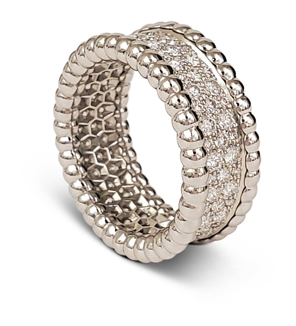 Van Cleef & Arpels Perlée 3-Row Diamond Ring