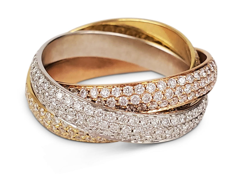 Cartier Trinity Tri-Color Gold and Diamond Pave Ring