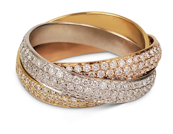 Cartier Trinity Tri-Color Gold and Diamond Pave Rolling Ring