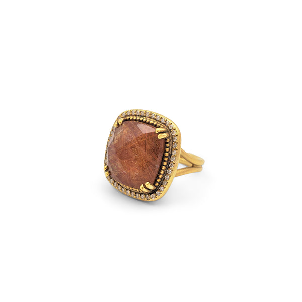 Lauren K. Yellow Gold Rutilated Quartz and Diamond Ring