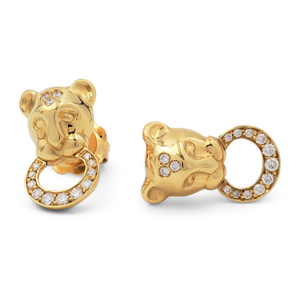 Temple St. Clair 'Lion Cub' Yellow Gold and Diamond Earrings