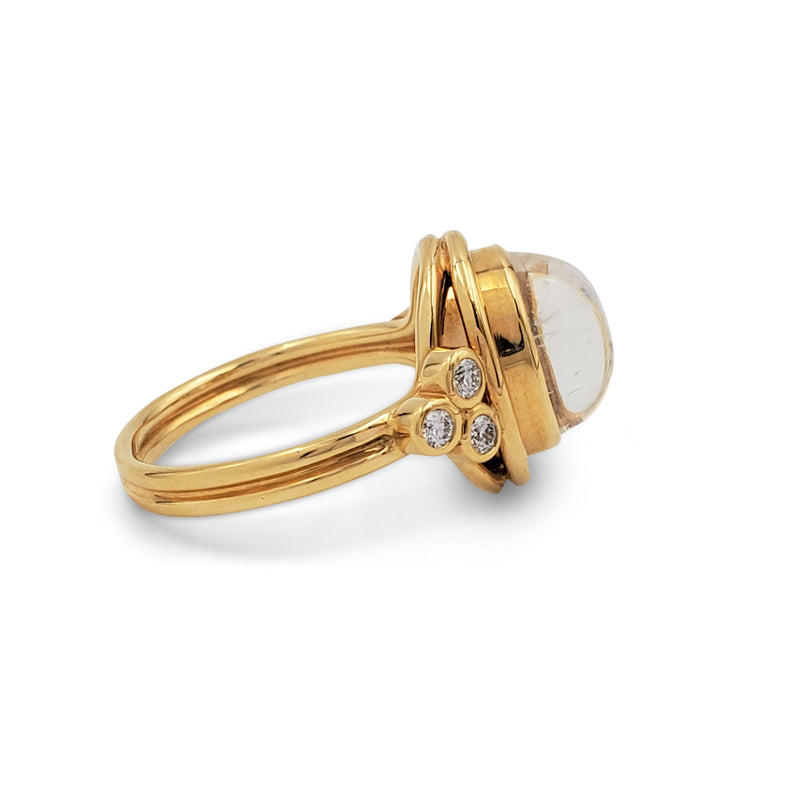 Temple St. Clair 'Classic Temple' Yellow Gold Moonstone and Diamond Ring