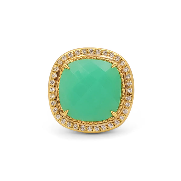 Lauren K. Yellow Gold Chrysoprase and Diamond Ring