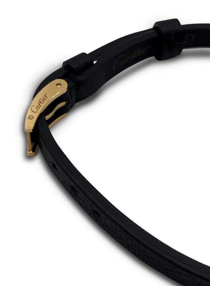 Cartier Love Gold Slide Bar Black Leather Strap Bracelet