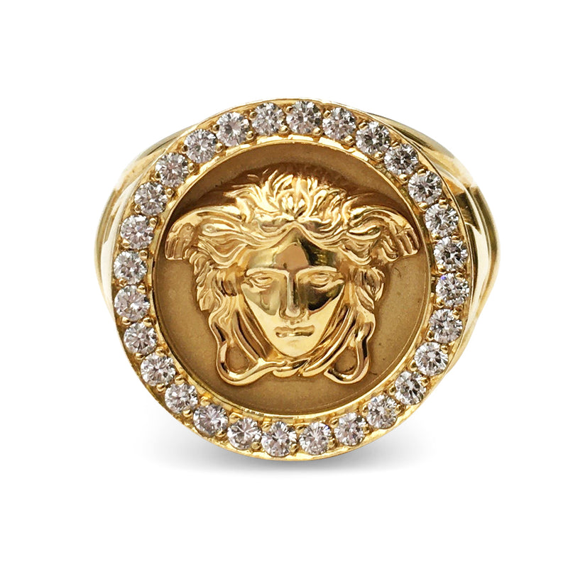 Gianni Versace Medusa Head Gold and Diamond Ring