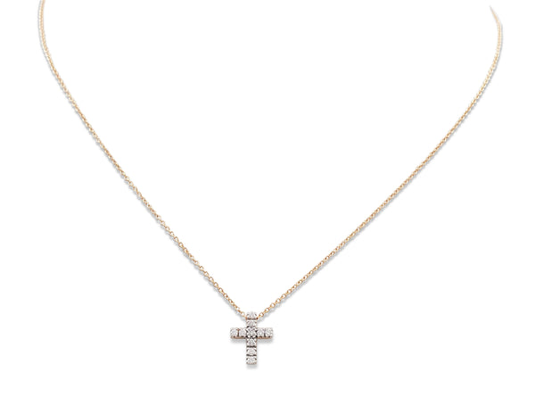 Pomellato Rose Gold and Diamond Cross Pendant Necklace