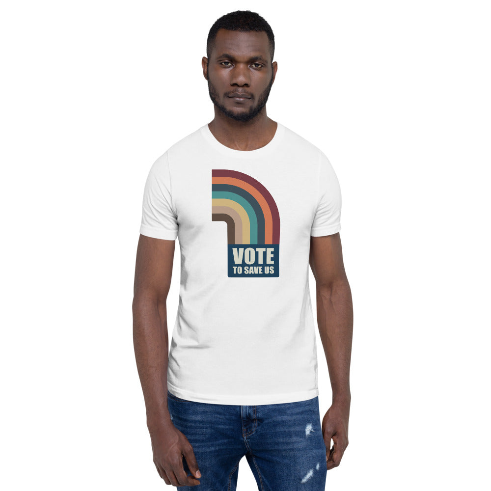 Vote To Save Us Flag Color T-Shirt Unisex Crew-Neck WHITE