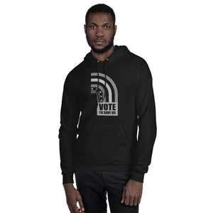 Vote To Save Us Flag Shades Of Grey Hoodie Unisex Fleece BLACK