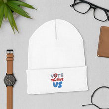 Load image into Gallery viewer, Vote To Save Us Flower RWB Hat_Cuffed Beanie