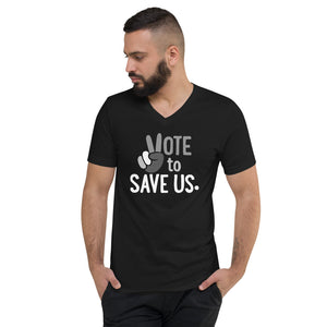 Vote To Save Us Peace Shades Of Grey T-Shirt Unisex V-Neck BLACK