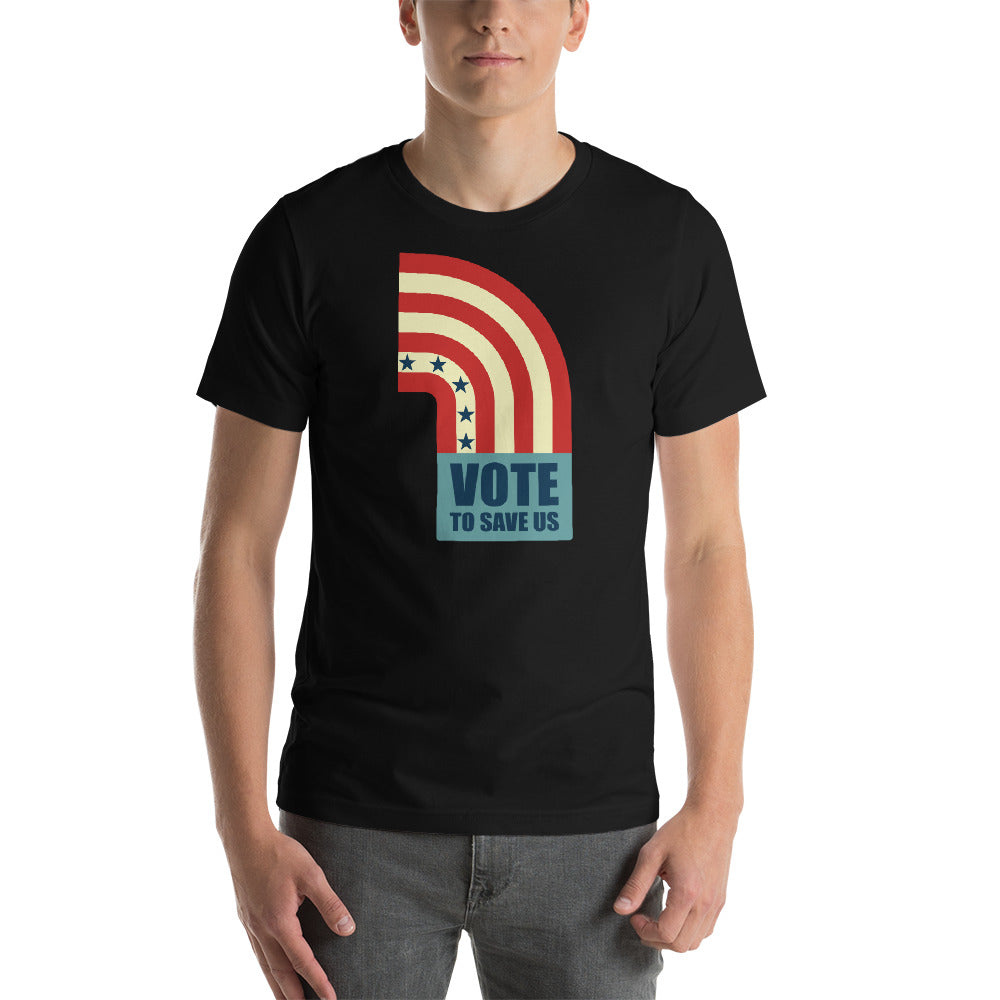 Vote To Save Us Flag RWB T-Shirt Unisex Crew Neck BLACK