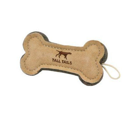 Tall Tails | Natural Leather & Wool Dog Toy | Bone