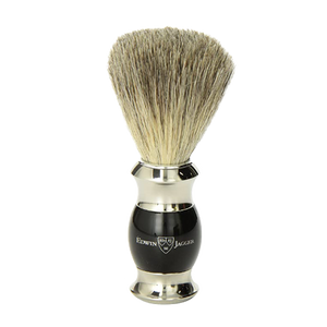 Edwin Jagger 81SB356 - Ebony Pure Badger Hair Shaving Brush with Nickel Plated Collar