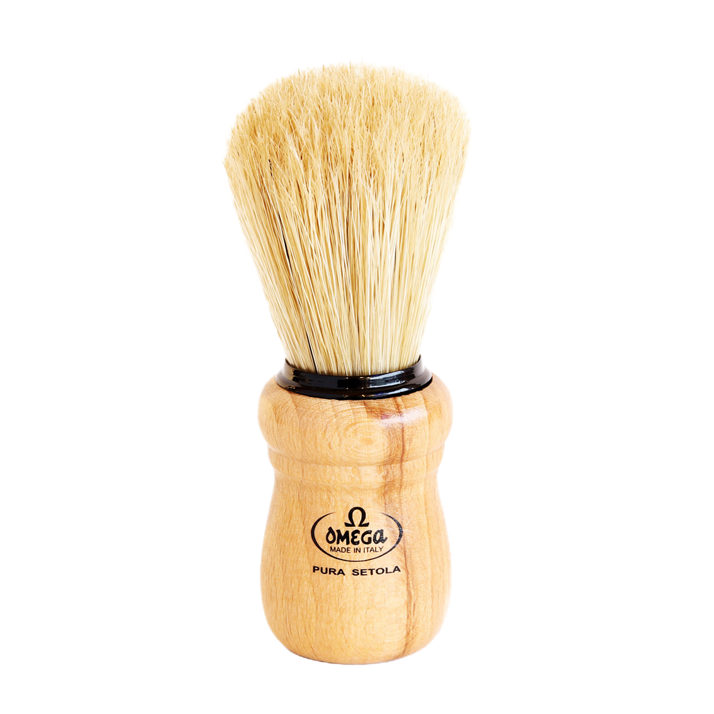 Omega 10005 - Beech Wood Handle Boar Shaving Brush
