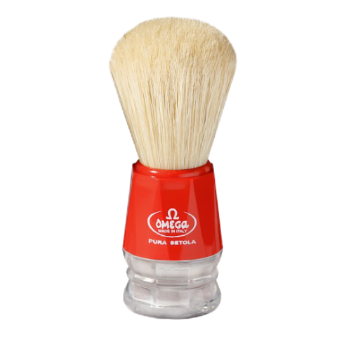 Omega 10018 Boar Hair Shaving Brush (Red or Yellow)