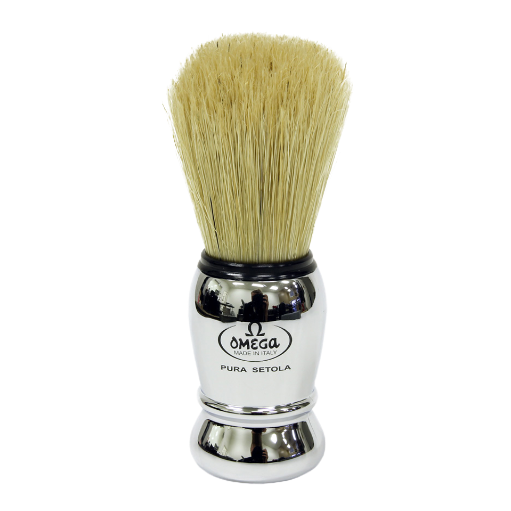 Omega 10029 - Chrome Plastic Handle Boar Shaving Brush