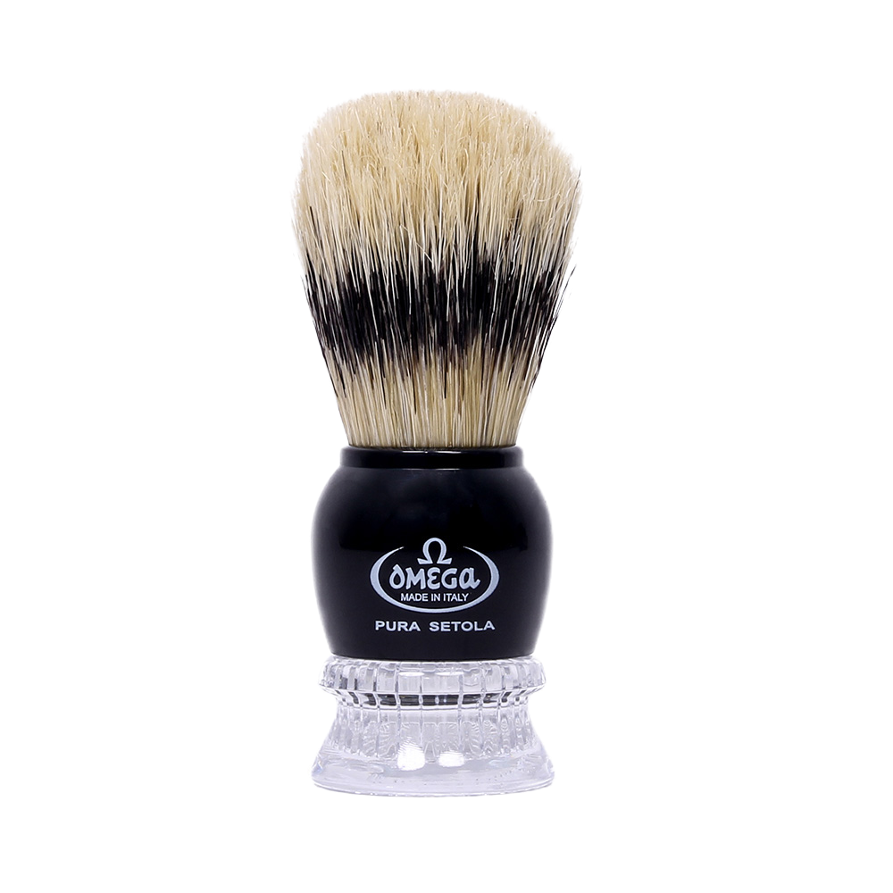 Omega 10275 - Black and Clear Acrylic Handle Boar Shaving Brush
