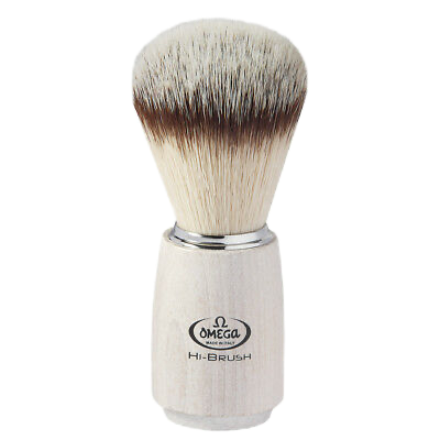 Omega 0146711 Hi Brush - Nylon Shave Brush White Wood