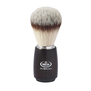 Omega 46712 HI-BRUSH Synthetic Fiber Shaving Brush, Ash Wood Handle