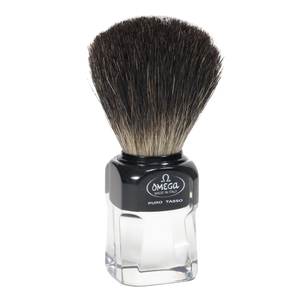 Omega 33174 - Black Badger Shaving Brush w/ Stand