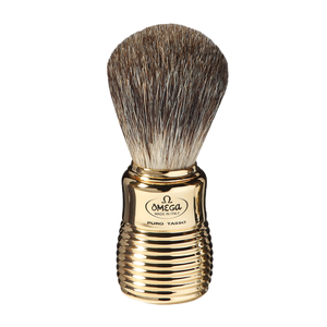 Omega 6127 - Black Badger Omega Shaving Brush - Beehive Gold