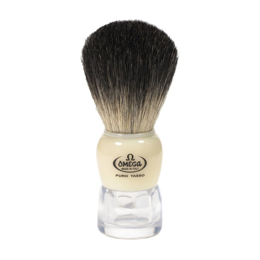 Omega 63170 - Black Badger Shaving Brush with Stand