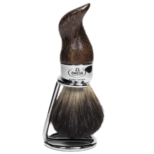 Omega 6537 - Palmwood Pure Badger Brush w/ Stand