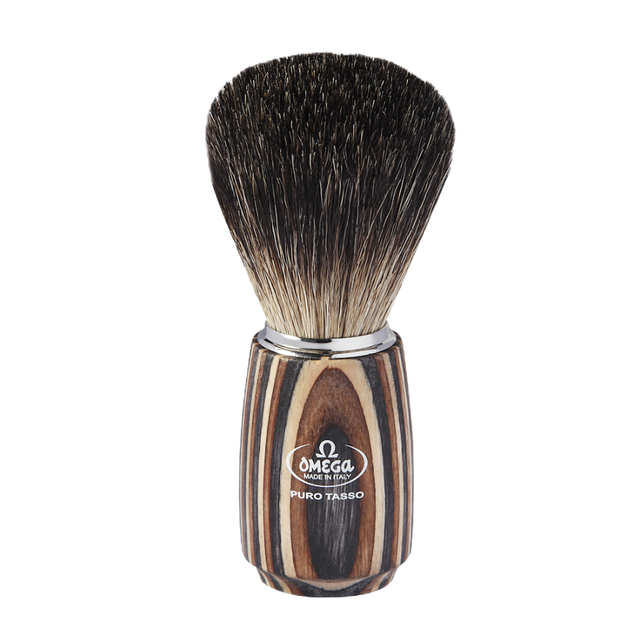 Omega 6752 - Black Badger Shaving Brush - Multicolored Wood