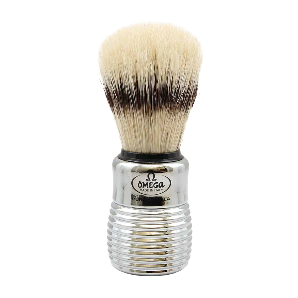 Omega 80280 - Boar Shaving Brush with Silver Beehive Handle w/ Stand